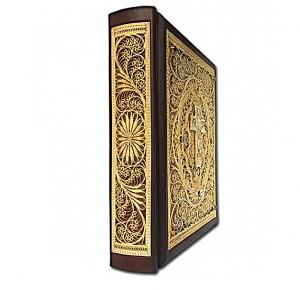 Библия с филигранью ручной работы покрытая золотом фото 2