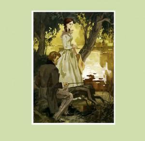 """Иллюстрация из подарочной книги """"Дворянское гнездо. Накануне"""""""