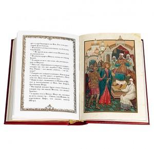 """""""Евангелие в красках Палеха"""" подарочная книга в кожаном переплете"""