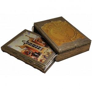 """Книга в кожаном переплете """"Русские святые. Жизнь и деяния"""""""
