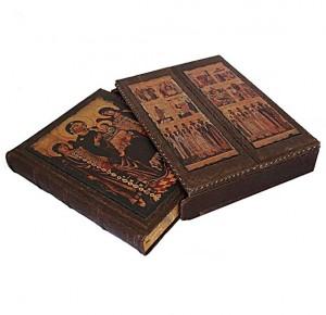 """Подарочная книга """"Святые образы"""" (в футляре-триптих) в кожаном переплете"""